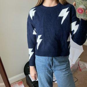 Storia Cropped Lightning Navy Sweater